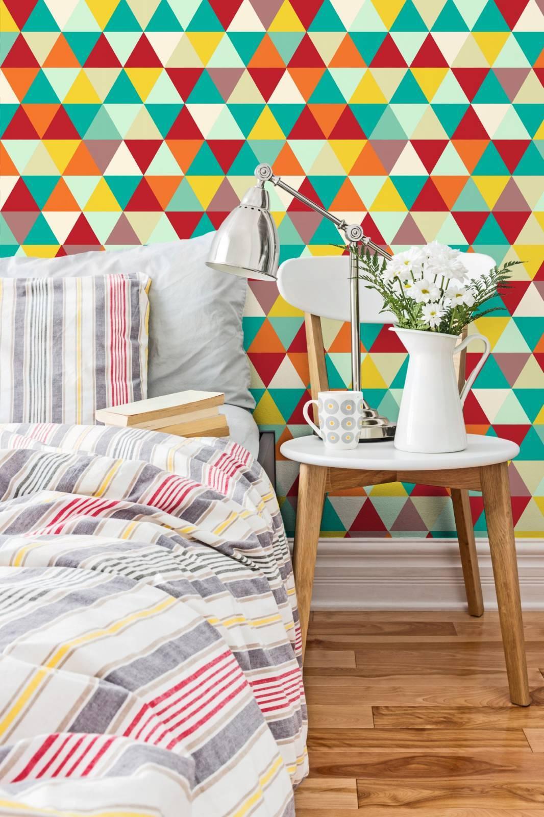 Papel de Parede Adesivo Geometrico Mosaico Colorido/Rolo  imagem 3
