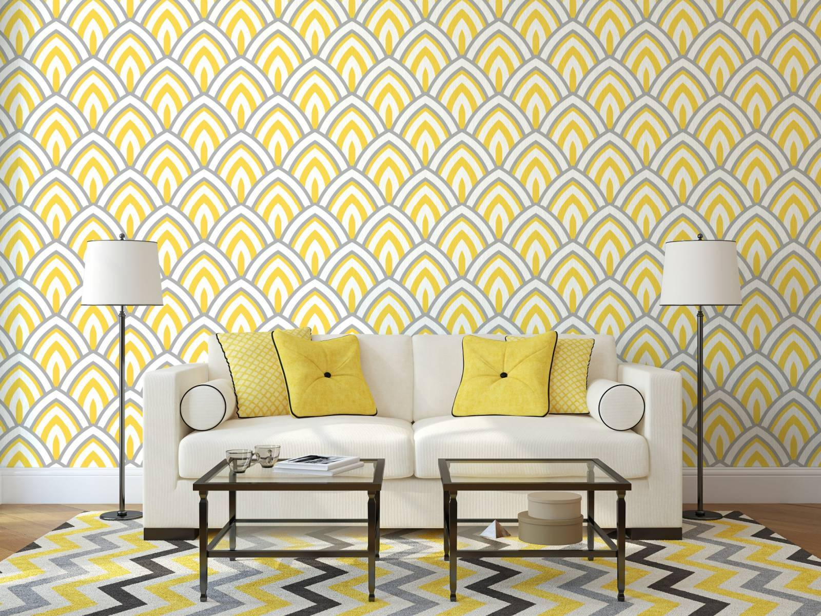 Papel de Parede Geométrico Amarelo  imagem 2