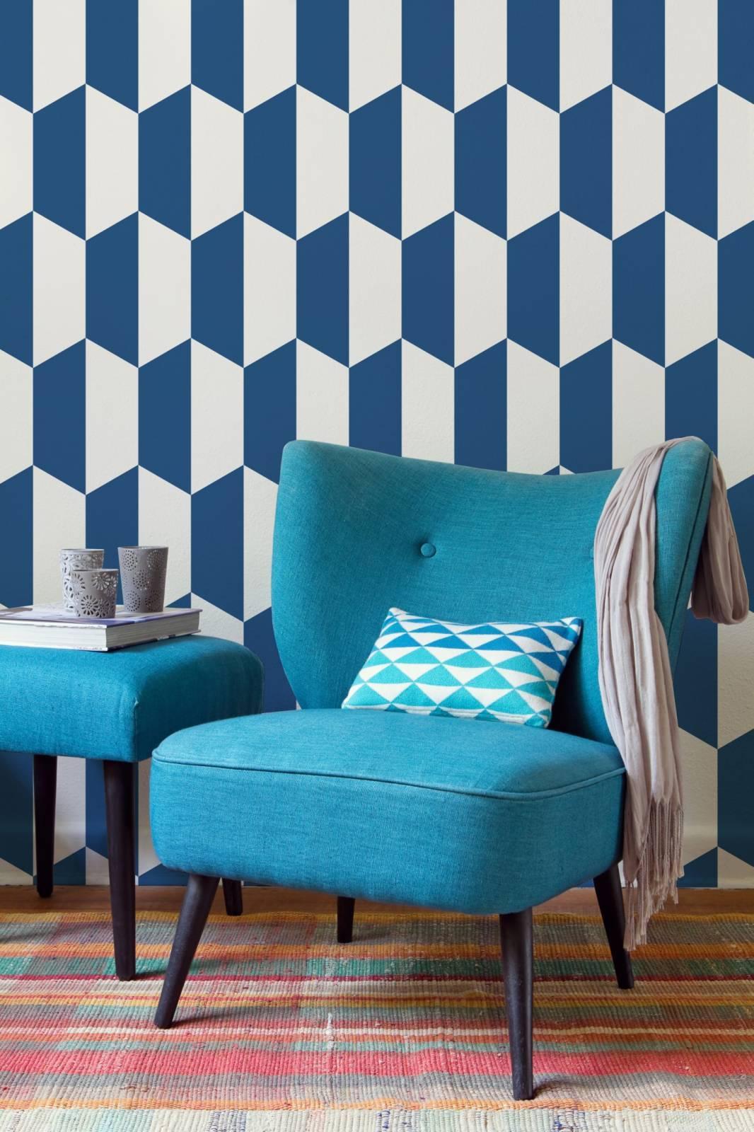 Papel de Parede Azul e Branco | Adesivo Vinilico imagem 2