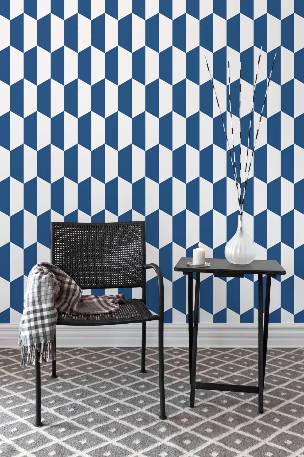 Papel de Parede Azul e Branco | Adesivo Vinilico imagem 3