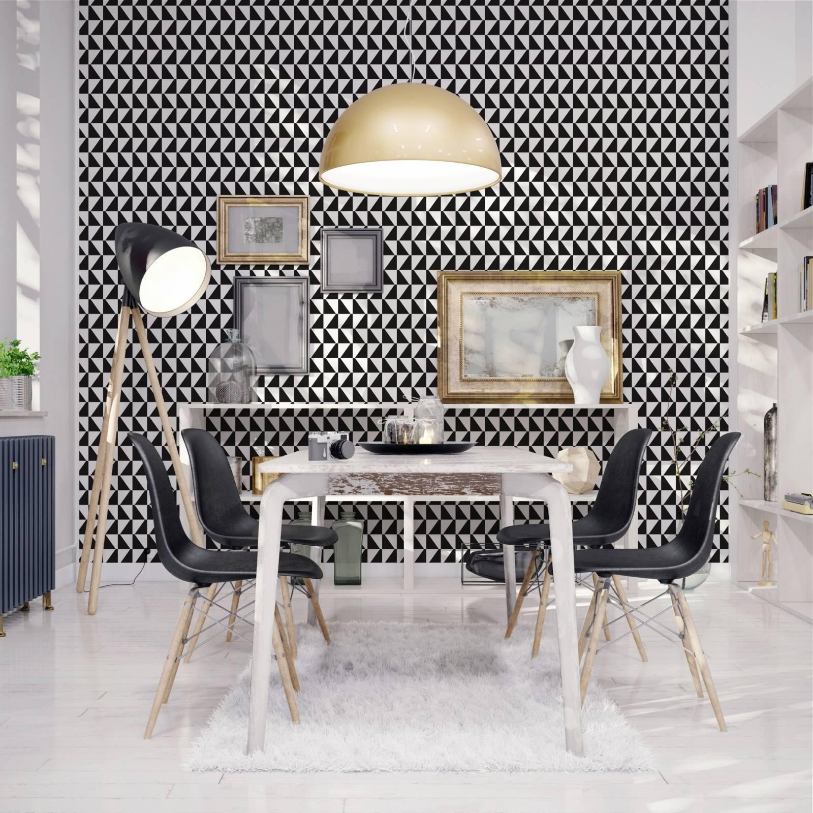 Papel de Parede Geometrico Preto e Branco | Adesivo Vinilico imagem 2
