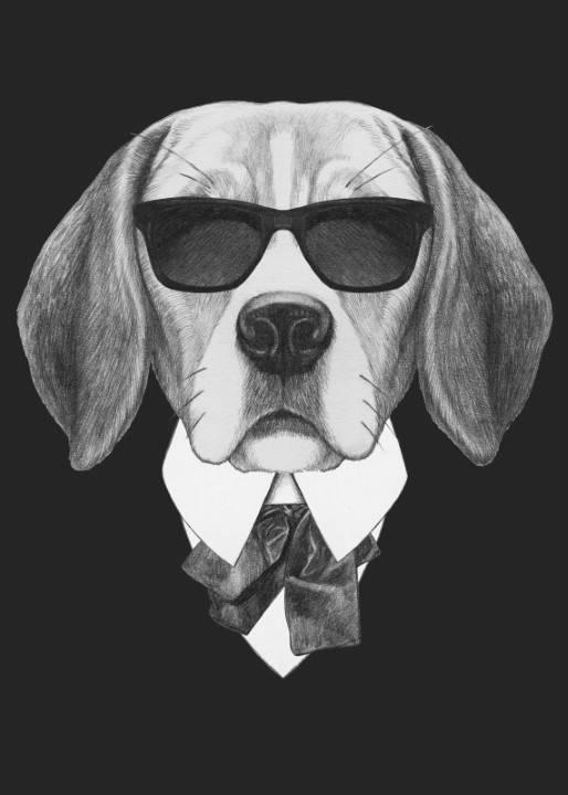 Quadro Cachorro de Terno