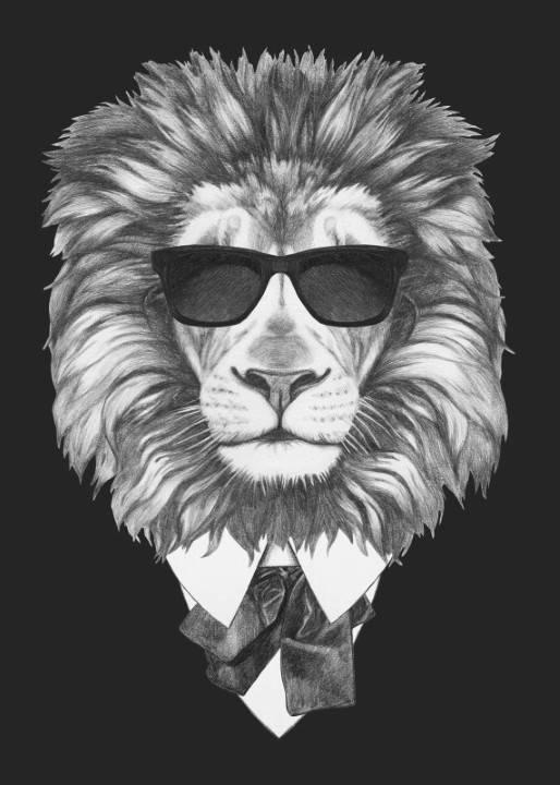Quadro Leão de Terno imagem 1