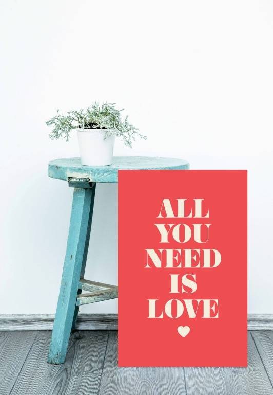 Quadro all you need is love imagem 3