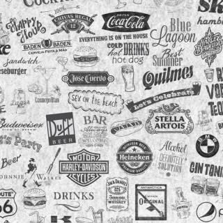 Papel de Parede Adesivo Gourmet Labels /Rolo