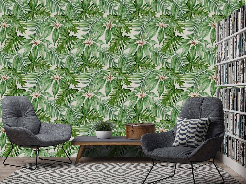 Papel de Parede Floral Folhagem Verde | Adesivo Vinílico imagem 2