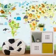 imagem do Papel de Parede Adesivo Mapa Mundi Animais / m²