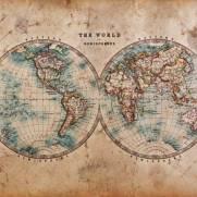 imagem do Papel de Parede Adesivo Mapa Vintage / m²