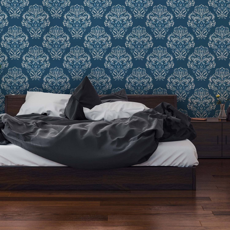 Papel de Parede Arabesco Azul Escuro | Adesivo Vinilico imagem 2