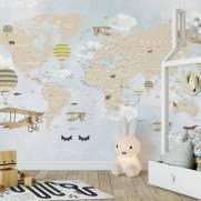 imagem do Papel de Parede Adesivo Mapa Infantil Lúdico / m²
