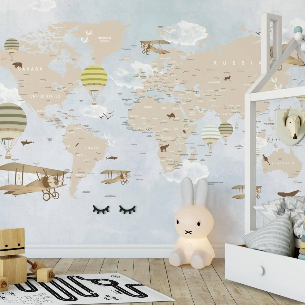 Papel de Parede Adesivo Mapa Infantil Lúdico / m² - Redecorei
