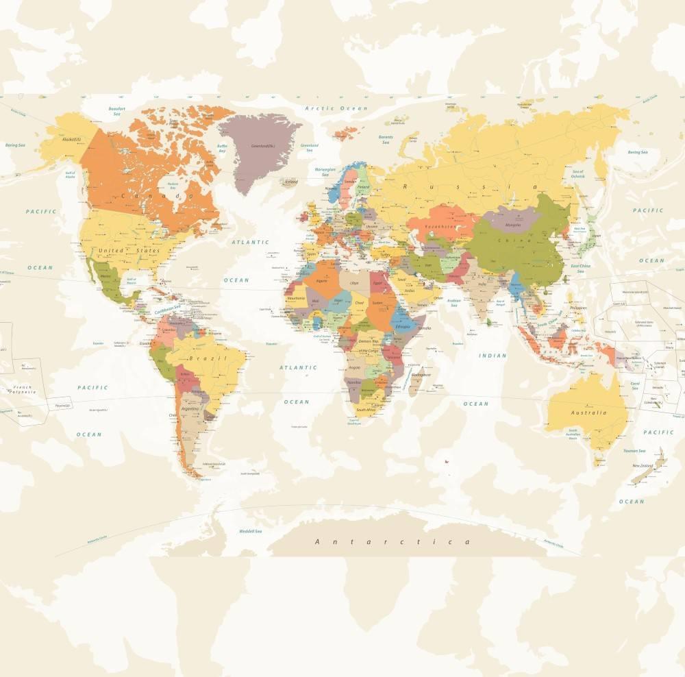 Painel Fotográfico Mapa Mundi Tons Bege / m² imagem 1