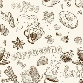 Papel de Parede Adesivo Gourmet Capuccino /Rolo