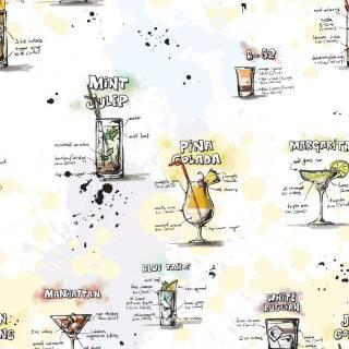 Papel de Parede Adesivo Gourmet Carta de Drinks /Rolo
