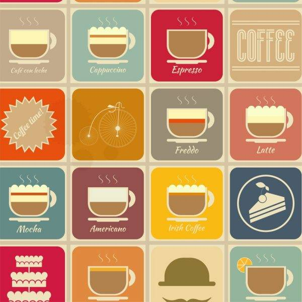 Papel de Parede Adesivo Gourmet Coffe Time /Rolo - Redecorei
