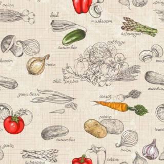 Papel de Parede Adesivo Gourmet Legumes /Rolo