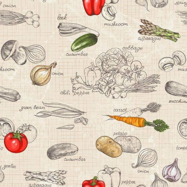 Papel de Parede Adesivo Gourmet Legumes /Rolo imagem 1