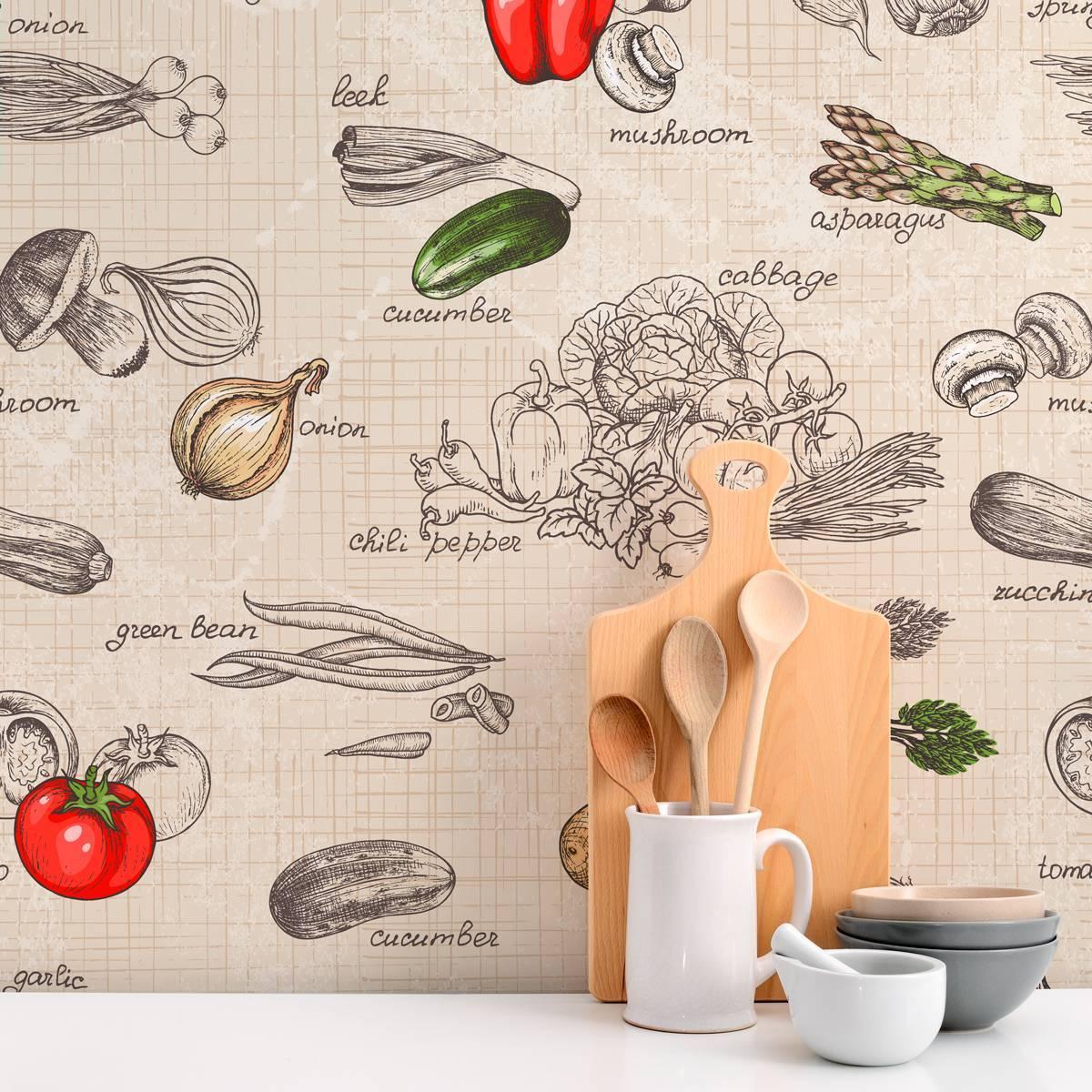 Papel de Parede Adesivo Gourmet Legumes /Rolo imagem 2