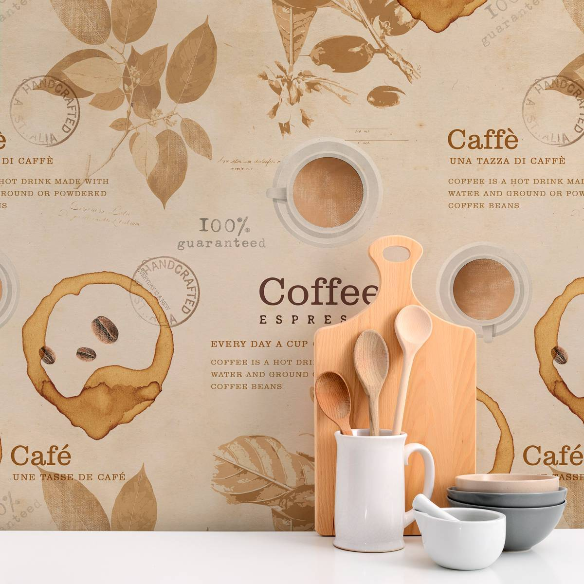 Papel de Parede Adesivo Gourmet Vintage Coffe /Rolo imagem 2