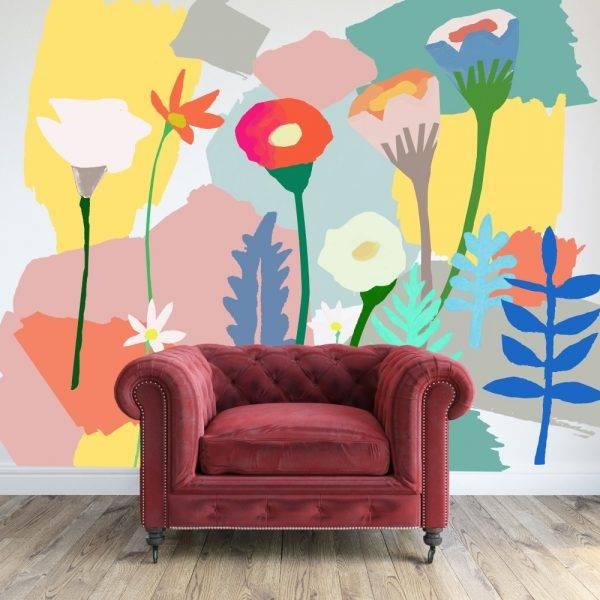Painel Fotográfico Aquarela Flores/ m² imagem 4