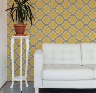 Papel de Parede Retro Vintage Amarelo | Adesivo Vinilico
