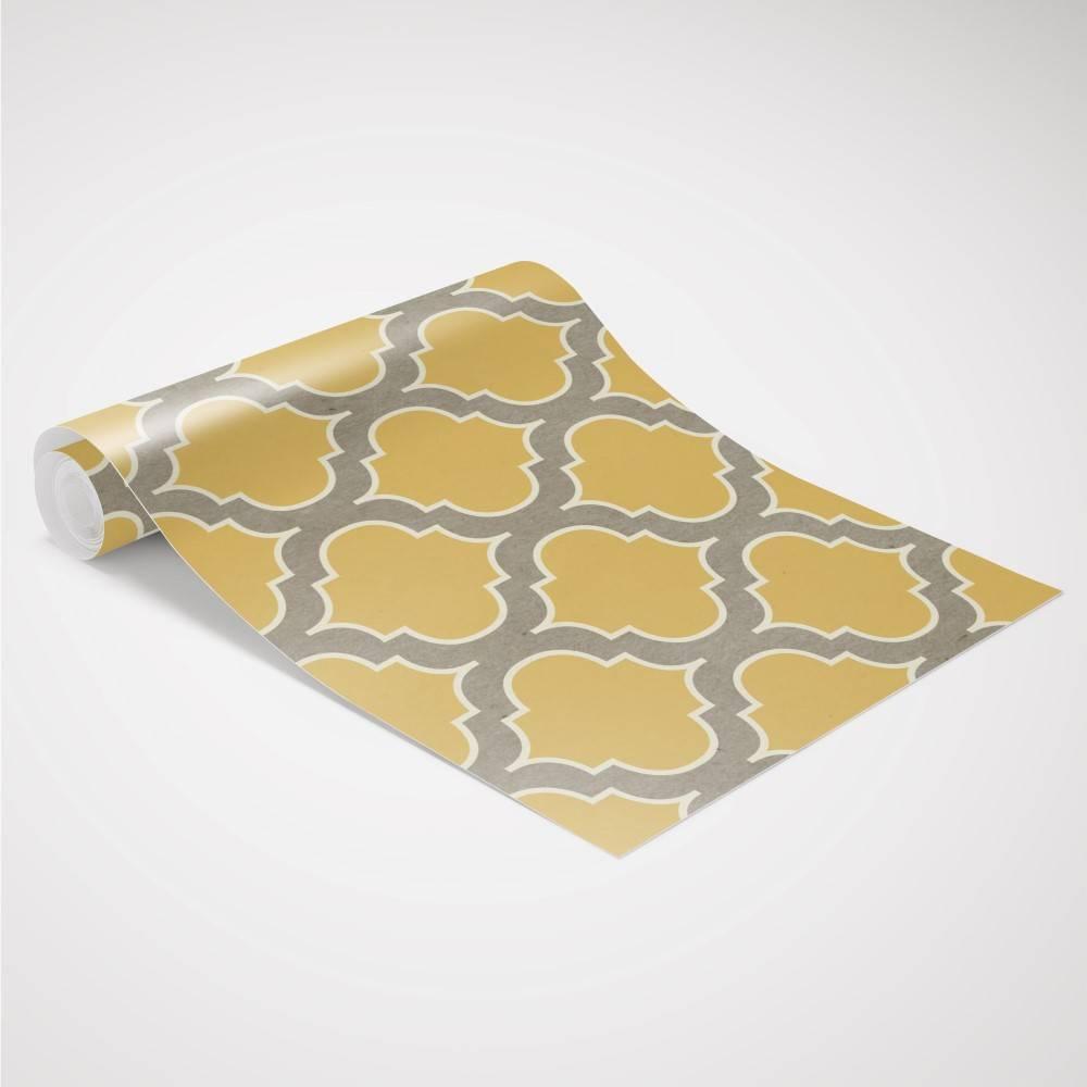 Papel de Parede Retro Vintage Amarelo | Adesivo Vinilico imagem 4