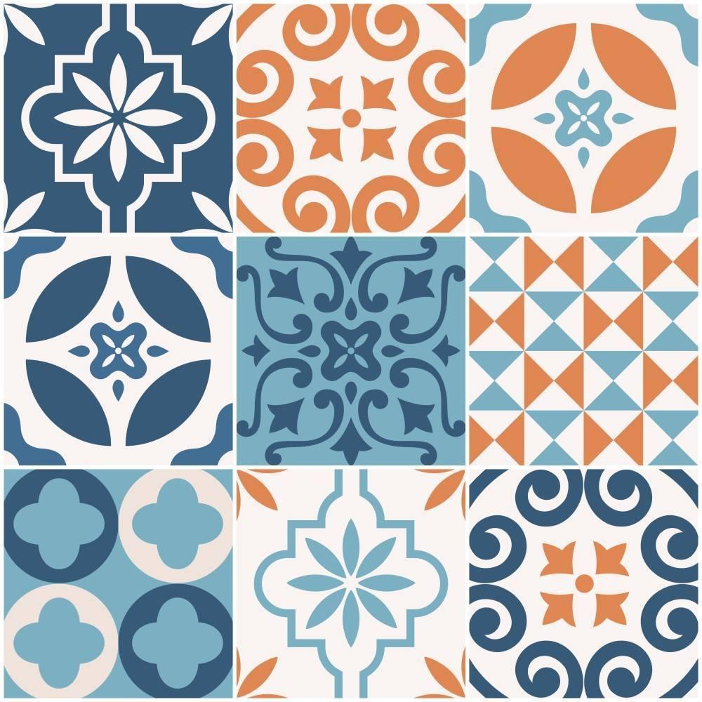 Papel de parede Adesivo Azulejo Changjai laranja imagem 1