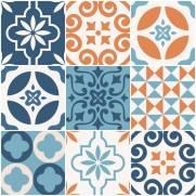 imagem do Papel de parede Adesivo Azulejo Changjai laranja