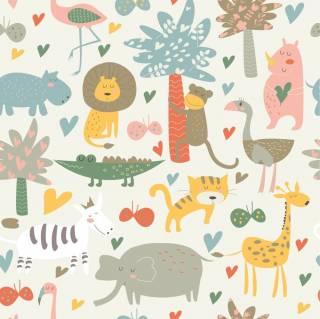 Papel de Parede Adesivo Floresta de Animais /Rolo