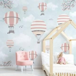 Painel Fotográfico Infantil Lúdico Balões Rosa e Cinza / m²