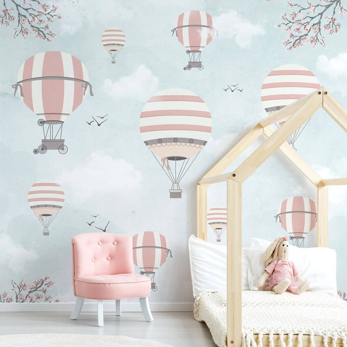 Painel Fotográfico Infantil Lúdico Balões Rosa e Cinza / m² imagem 1