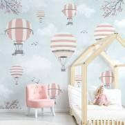 imagem do Painel Fotográfico Infantil Lúdico Balões Rosa e Cinza / m²