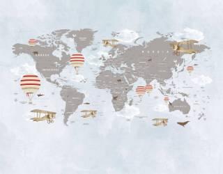Painel Fotográfico Mapa Mundi Balões Vermelho / m²