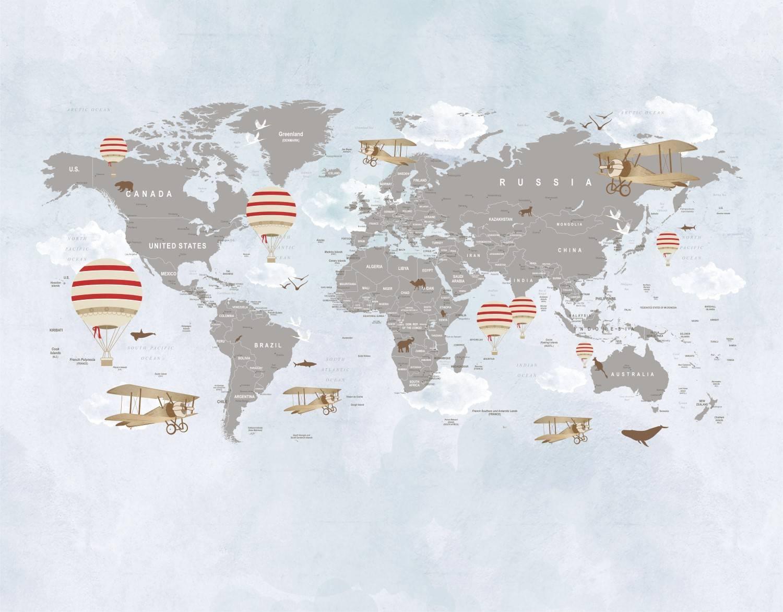 Painel Fotográfico Mapa Mundi Balões Vermelho / m² imagem 1