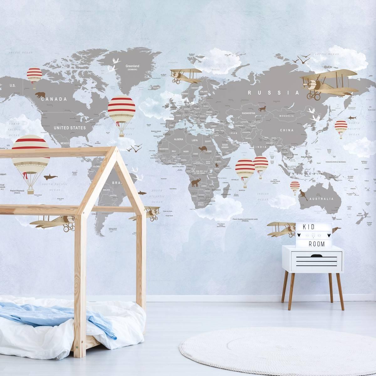 Painel Fotográfico Mapa Mundi Balões Vermelho / m² imagem 2