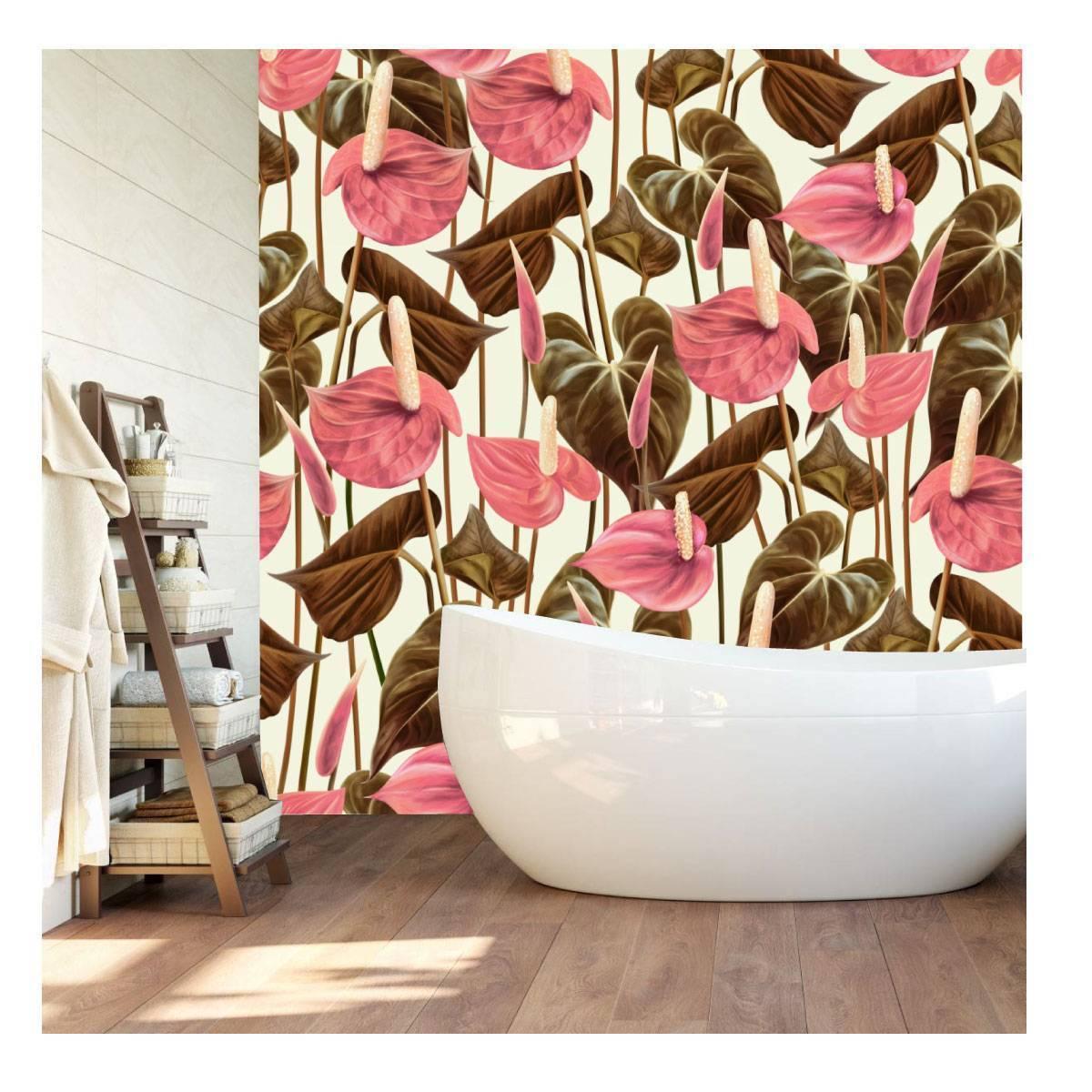 Papel de Parede Floral Rosê Gold | Adesivo Vinílico imagem 1