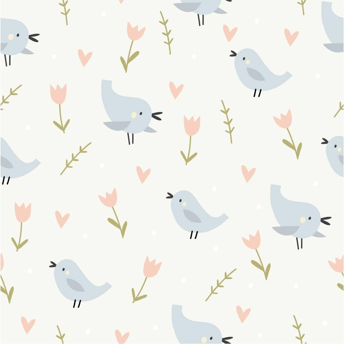 Papel de Parede Adesivo Pássaros /Rolo imagem 1