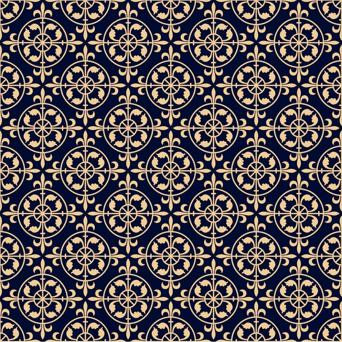 Papel de Parede Arabesco Azul Marinho | Adesivo Vinilico imagem 2