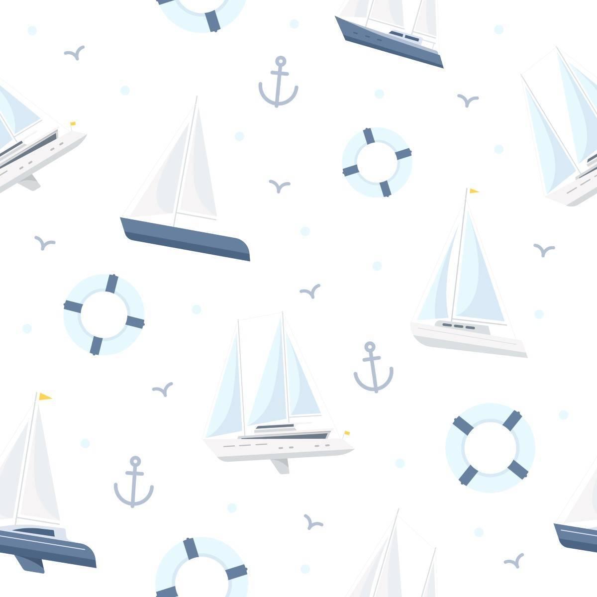 Papel de Parede Adesivo Barcos e Bóias imagem 1