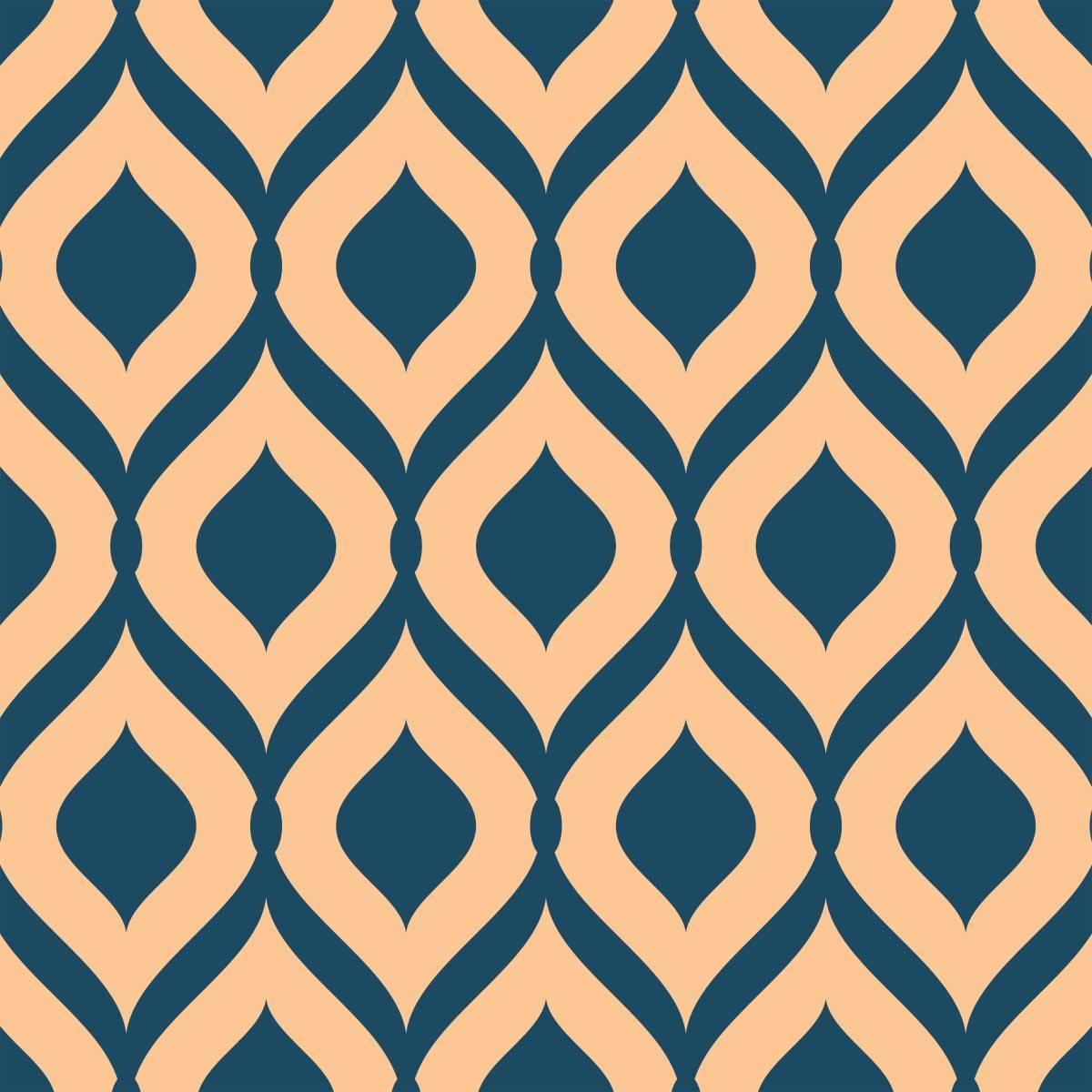 Papel de Parede Retrô Azul e Bege | Adesivo Vinilico imagem 2