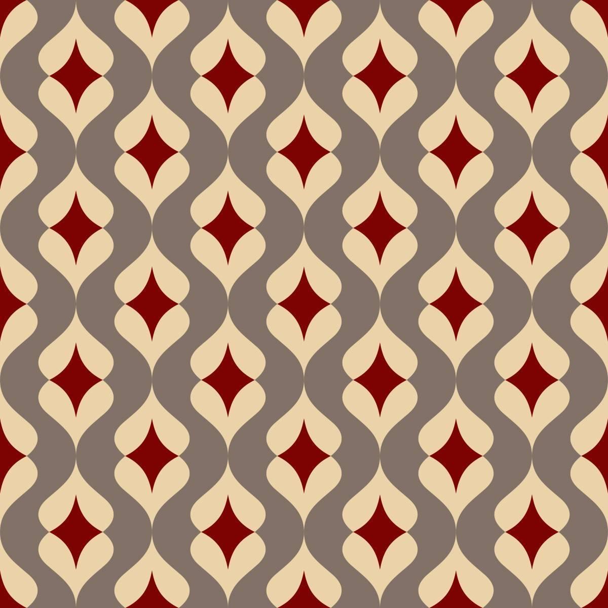Papel de Parede Vermelho e Bege | Adesivo Vinilico imagem 2