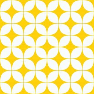 Papel de Parede Adesivo Retrô Amarelo e Branco