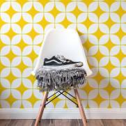 imagem do Papel de Parede Retrô Amarelo | Adesivo Vinilico