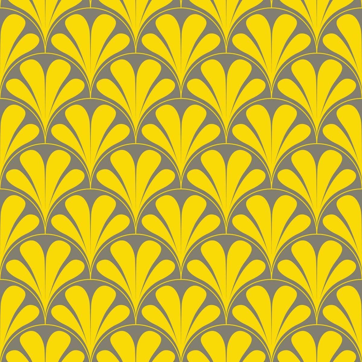 Papel de Parede Amarelo e Cinza Retrô | Adesivo Vinilico imagem 2