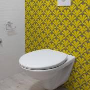 imagem do Papel de Parede Amarelo e Cinza Retrô | Adesivo Vinilico