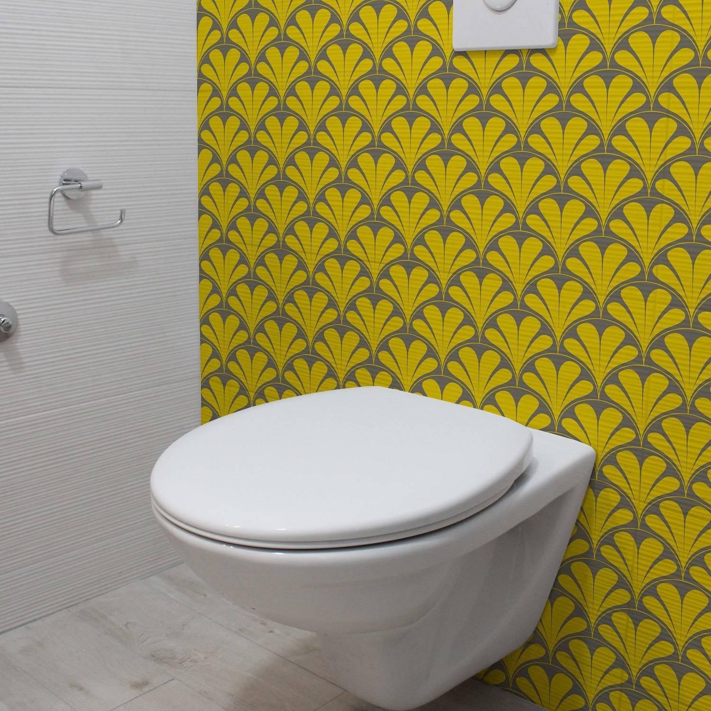 Papel de Parede Amarelo e Cinza Retrô | Adesivo Vinilico imagem 1