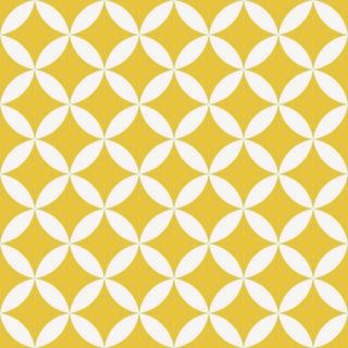 Papel de Parede Adesivo Retrô Branco e Amarelo