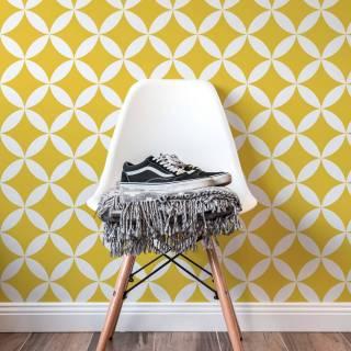 Papel de Parede Amarelo e Branco Retrô | Adesivo Vinilico