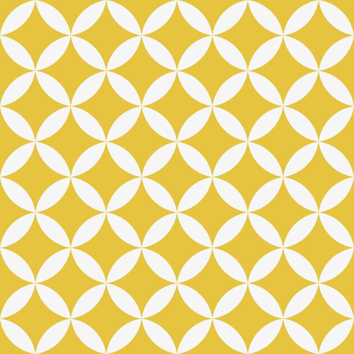 Papel de Parede Adesivo Retrô Branco e Amarelo - Redecorei