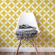 imagem do Papel de Parede Amarelo e Branco Retrô | Adesivo Vinilico